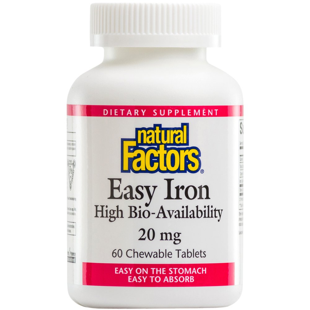 Natural Factors - Easy Iron 20mg, Support for Healthy Energy and Iron Levels, Easily Absorbed, Non-GMO & Vegetarian, 60 Chewable Tablets