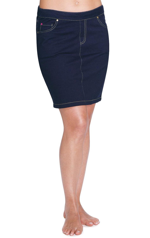 0-2 GKPJ03621-GKPW03621-PAJ010706 PajamaJeans Womens Stretch Knit Denim Skirt in Dark Blue Indigo X-Small