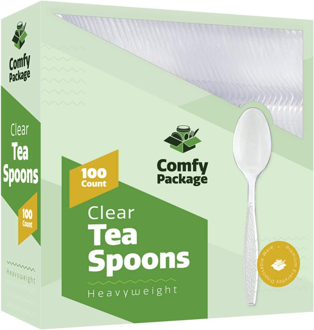[100 Pack] Heavyweight Disposable Clear Plastic Tea Spoons: Kitchen & Dining
