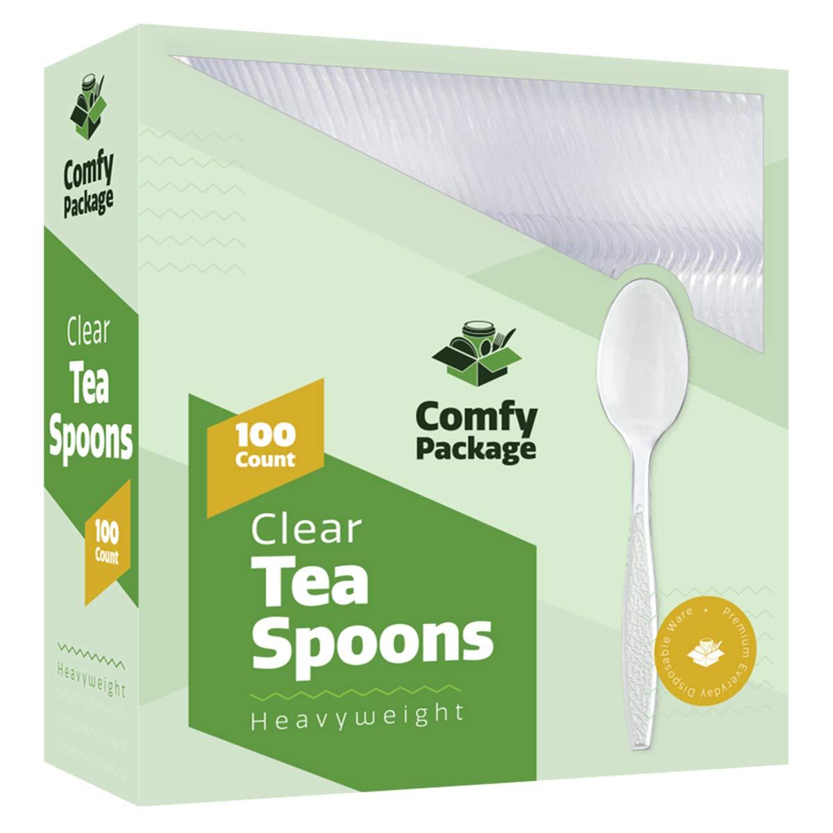 [100 Pack] Heavyweight Clear Plastic Tea Spoons B07H4SC9NQ   Tea Spoons