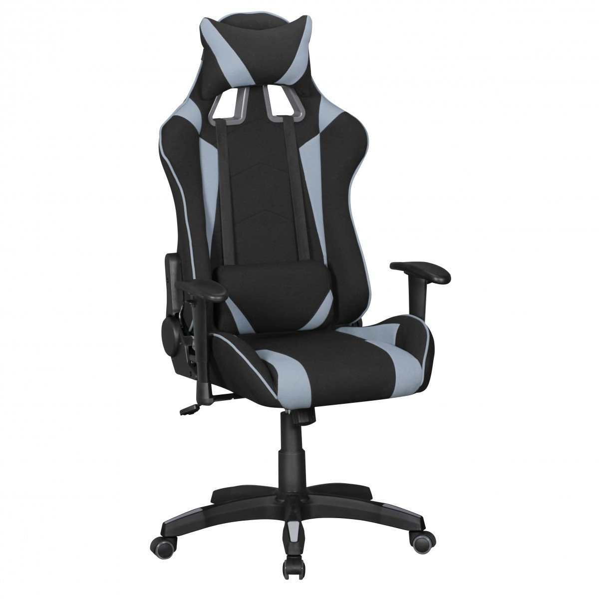 Amstyle Score Gaming Chair mit Stoff-Bezug   Drehstuhl in Race-Optik) Schwarz Grau
