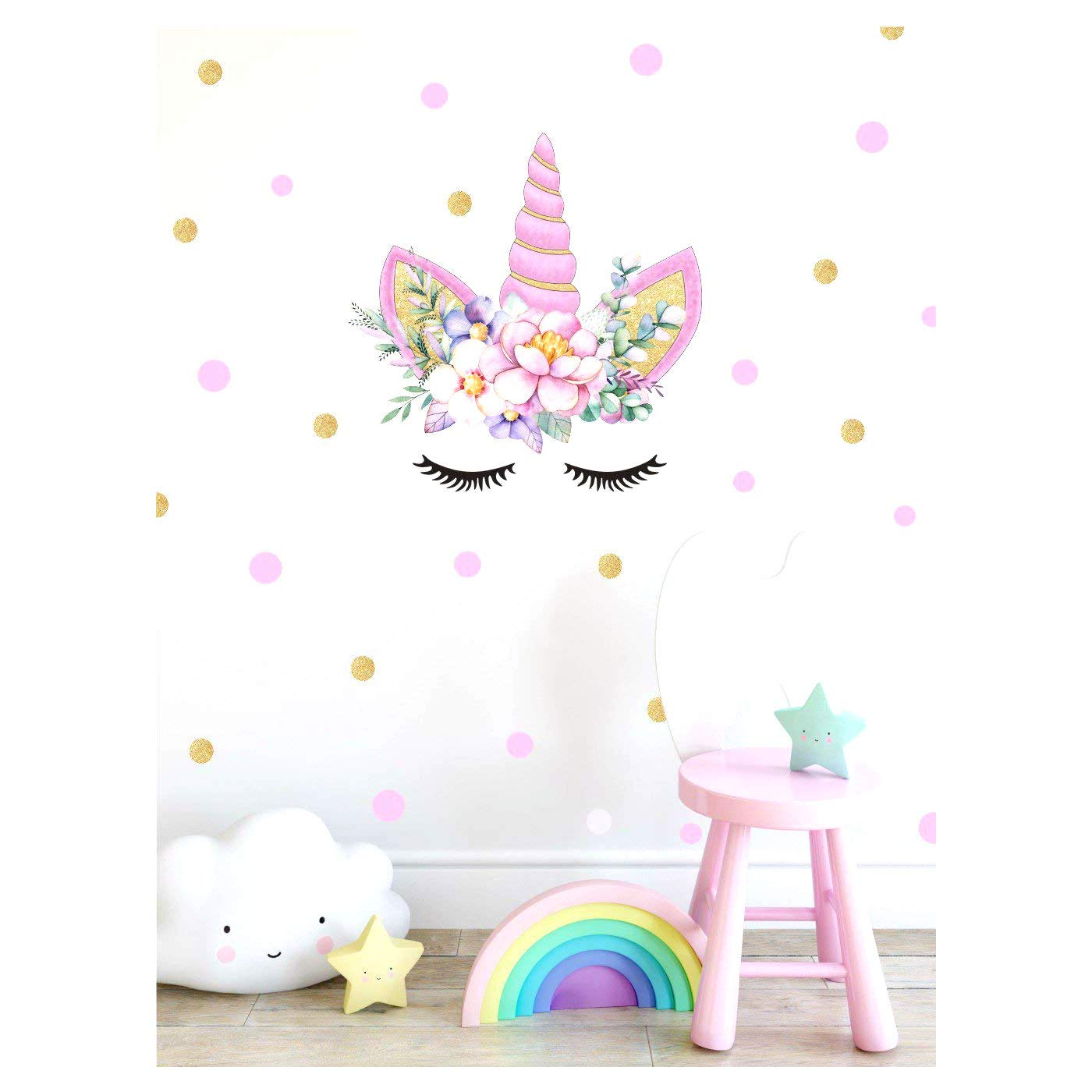 KUYUE Wall Decals Removable Purple Unicorn Wall Stickers for Girls Decorations Bedroom Living Room Playroom Classroom