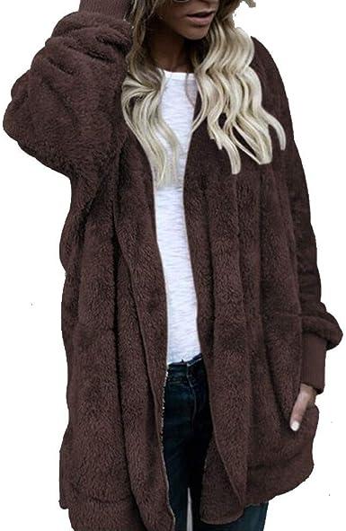 Sunday Mujer Hoodie Otoño Invierno Pelo Abrigo con Capucha