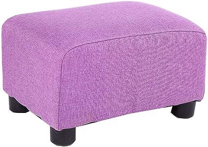 Image of GWFVA Taburete extraíble, Lavable, de algodón, de Lino, de Tela, sofá para el hogar, Taburete Cuadrado de Moda (tamaño: 38 x 27 x 20 cm) (Color: púrpura)