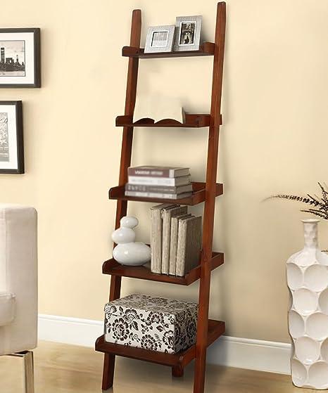 Estanterías de madera maciza de la escalera Contra la estantería de la pared Estante del estante de flor estante de 5 capas Blanco y marrón (Color : Marrón , Tamaño : 45*41*176cm) : Amazon.es: Hogar