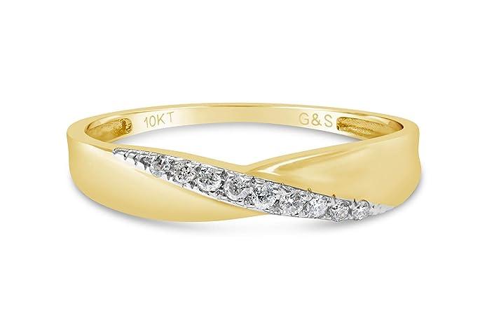 Anillo de boda de oro amarillo con diamantes - eternidad que ...