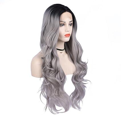 Arimika - Peluca de encaje sintético para mujer, color gris plateado