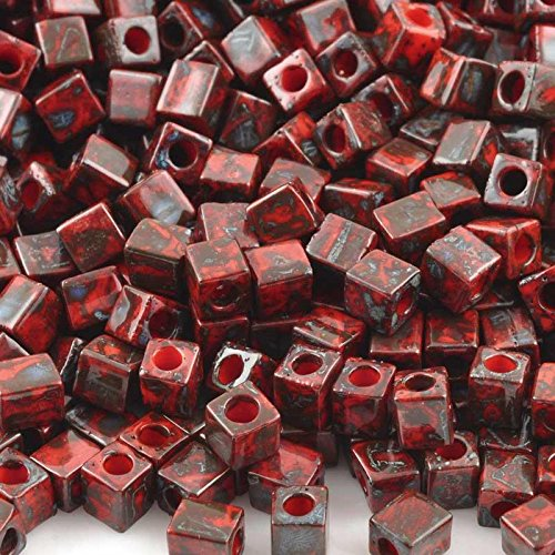 Seed Beads-4mm Cube-4513 Opaque Red Picasso-Miyuki-14 Grams
