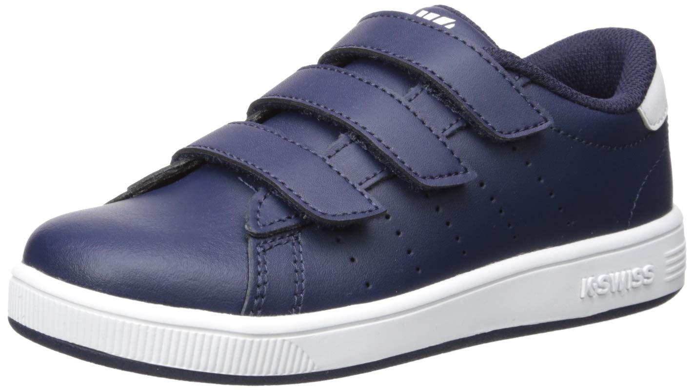 K-Swiss Unisex Clean Court 3-Strap Sneaker Navy/White 12.5 M US Little Kid