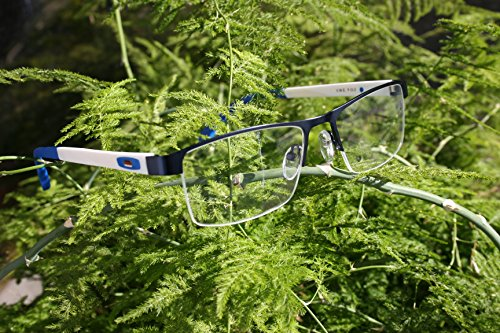 V.W.E. Men Half Rimless Rectangular Non-prescription Glasses Frame Clear Lens Eyeglasses (Blue)