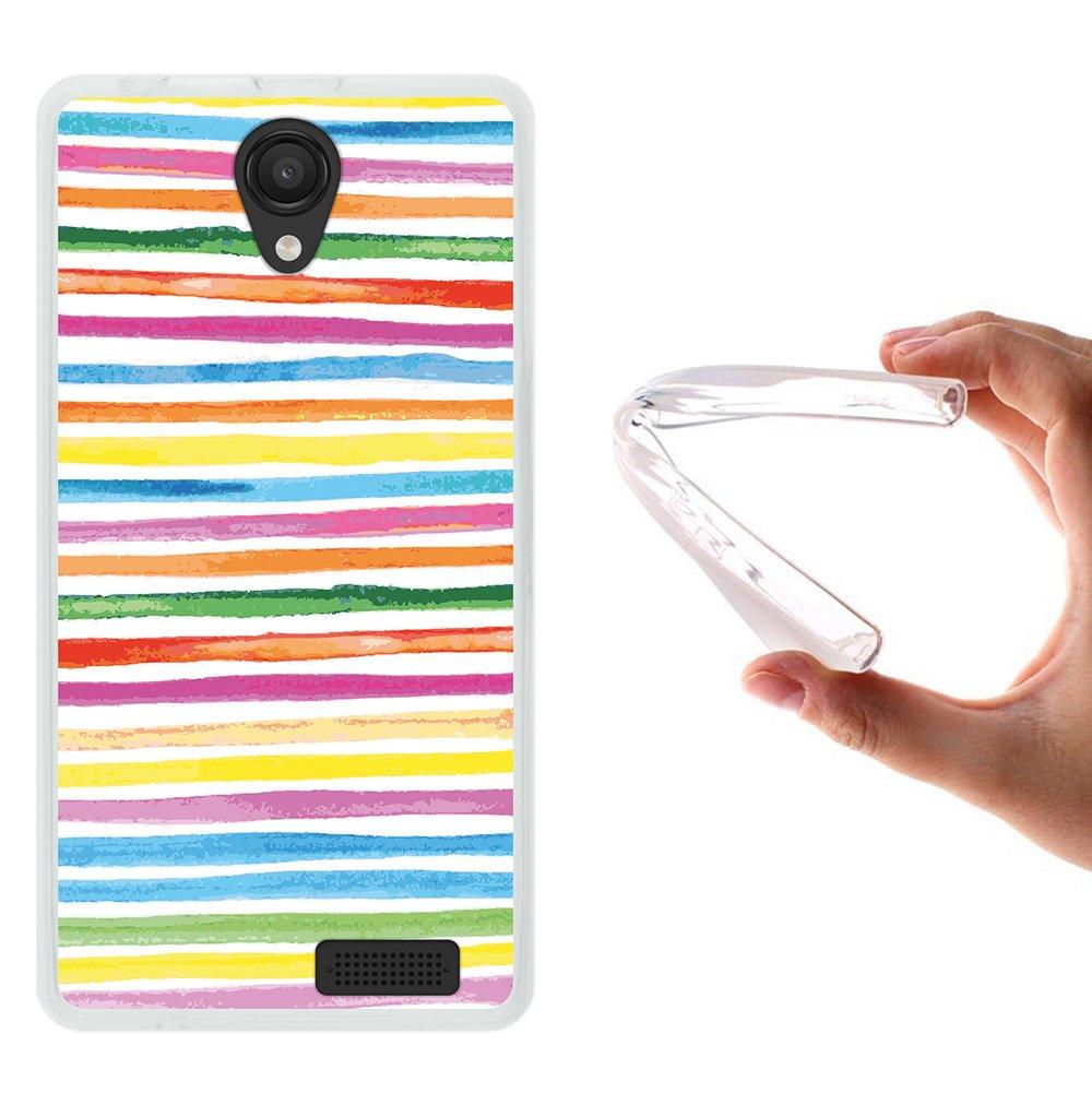 WoowCase Funda Energy Phone MAX 4G, [Energy Phone MAX 4G ] Funda Silicona Gel Flexible Acuarela - Rayas Colores, Carcasa Case TPU Silicona - ...