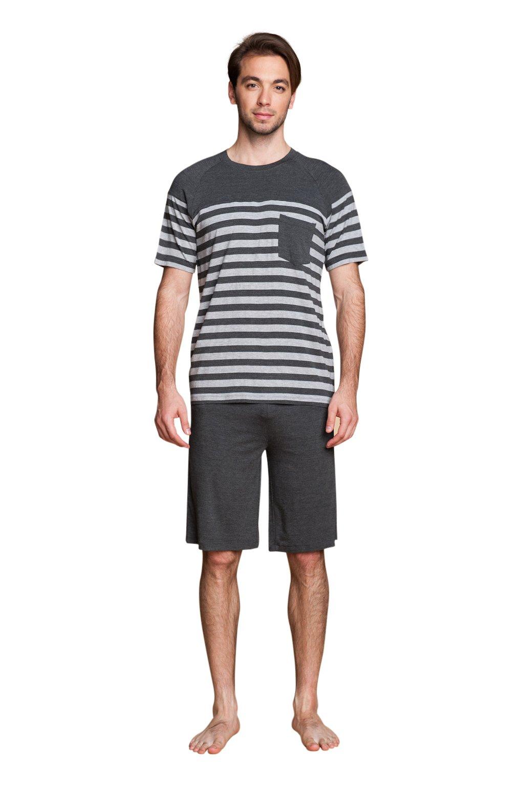 Suntasty Herren Zweiteiliger Schlafanzug Anzug Kurz Schlafanzüge softweich Baumwolle Pyjama Shorty T-Shirt uni Hose 2-tlg Set Kurzarm Shirt & Shorts S M L XL (Grey,S,1005M)