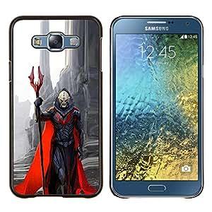 Carácter Demonio Rojo Cabo Monstruo Muerte- Metal de aluminio y de plástico duro Caja del teléfono - Negro - Samsung Galaxy E7 / SM-E700