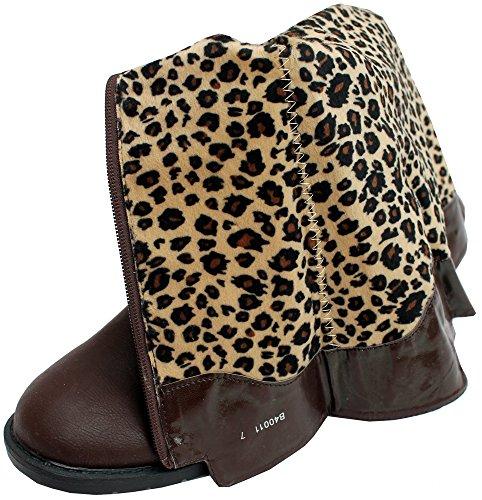 Mesdames genou haute bottes marron avec boucle
