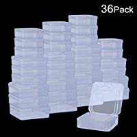 DOMIRE 36Pack Plastic Beads Containers Clear Mini Square Bead Organizer Container Storage Box with Lids for Beads Pills Jewelry Findings, 3 Sizes