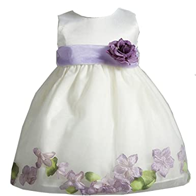 e53e44722df Image Unavailable. Image not available for. Color  Crayon Kids Baby Girls  Ivory Purple Petal Flower Girl Dress ...