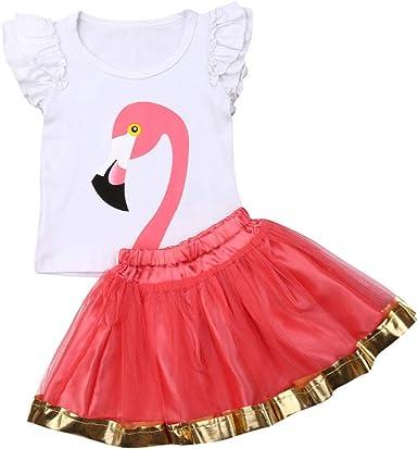 Conjunto de Camiseta de Flamenco y Falda de tutú para niña - Rojo ...