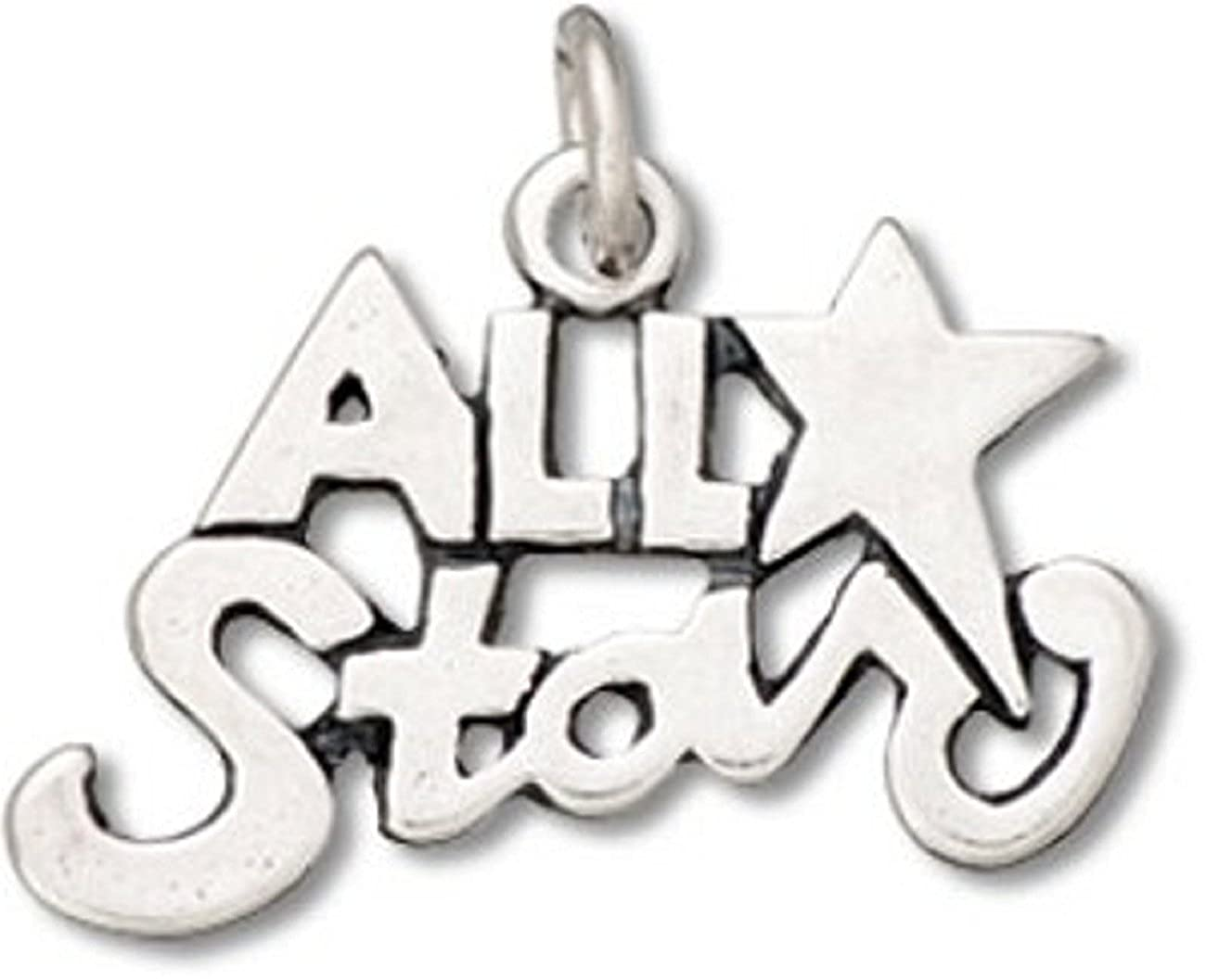 Sterling Silver Girls .8mm Box Chain All Star A Star Pendant Necklace