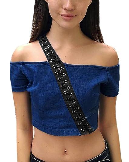 Blusas De Mujer Elegantes Un Hombro Inclinado Bandage Manga Corta Slim Fit Camisas Blusa Ajustado Ropa