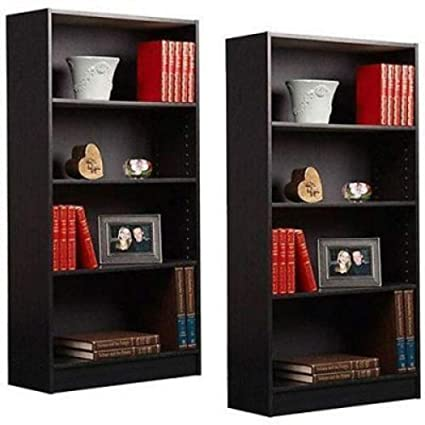 2 Pcs 4 Shelf Bookcase Bookshelf Black Wood Furniture Adjustable Shelves  Whops Shop