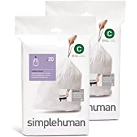 simplehuman Custom Fit Trash Can Liner C, 10 Liters / 2.6 Gallons, 20 Count (Pack of 2)