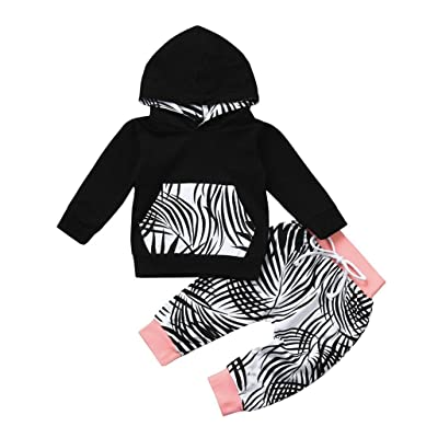 2pcs Newborn Toddler Clothes Set Baby Boy Girl Leaf Hoodie Tops+Pants Outfits
