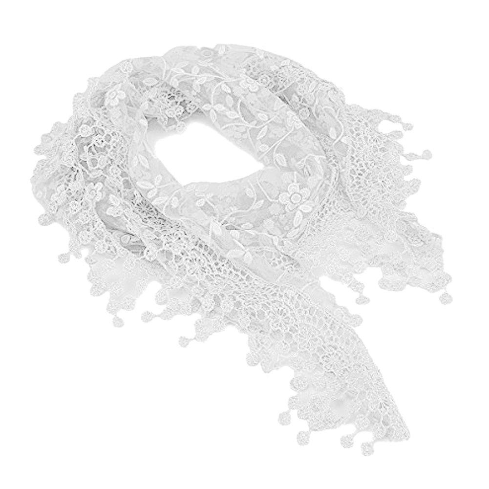 TININNA Donna pizzo vuoto nappe Sciarpa Triangolare Tippet Triangolo Sciarpa ricamata Sciarpa Bianco