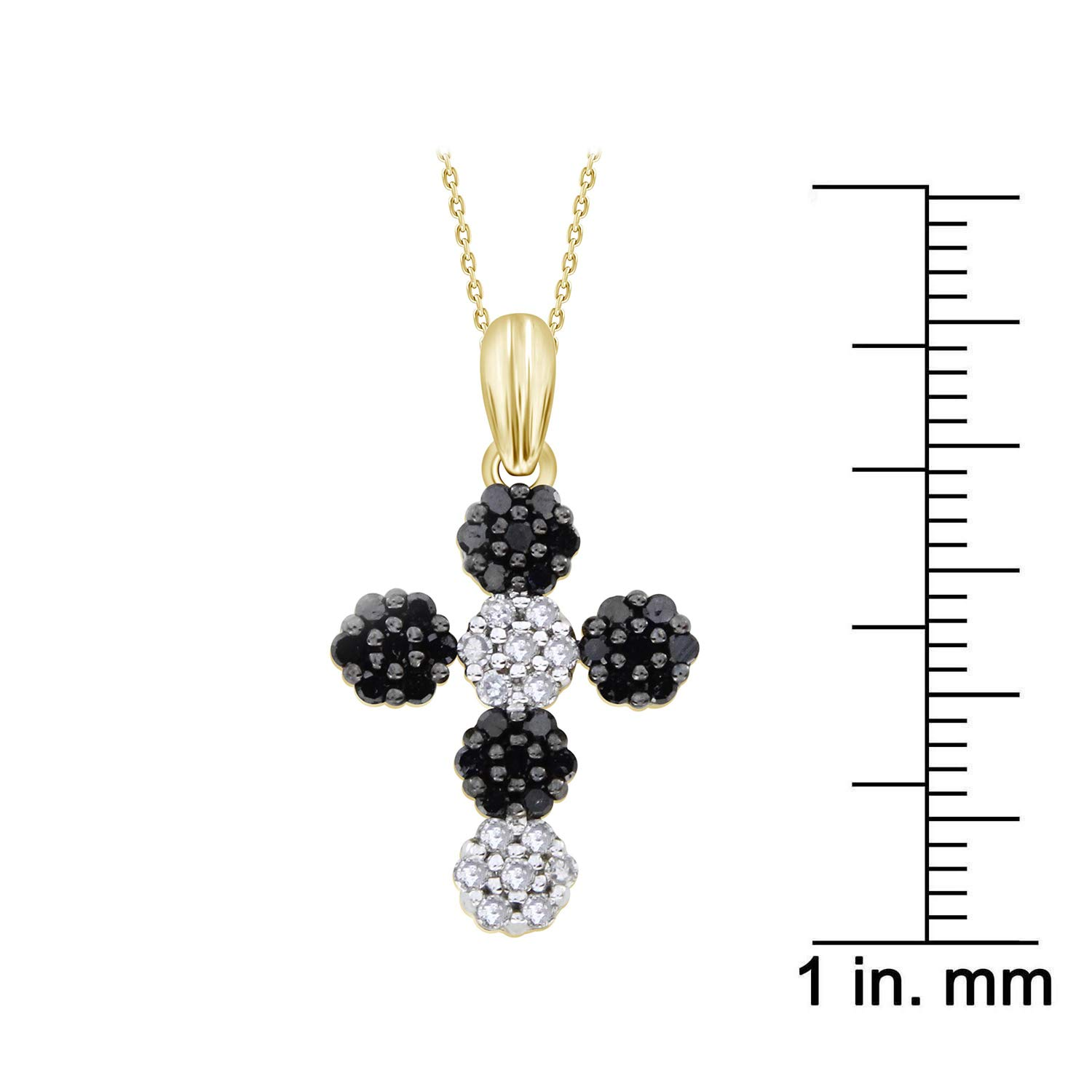 1//2 cttw, H-I /& Black Color, I2-I3 /& Treated Clarity Round Black /& White Diamond Cross Pendant with 18 Chain Necklace 10k Yellow Gold