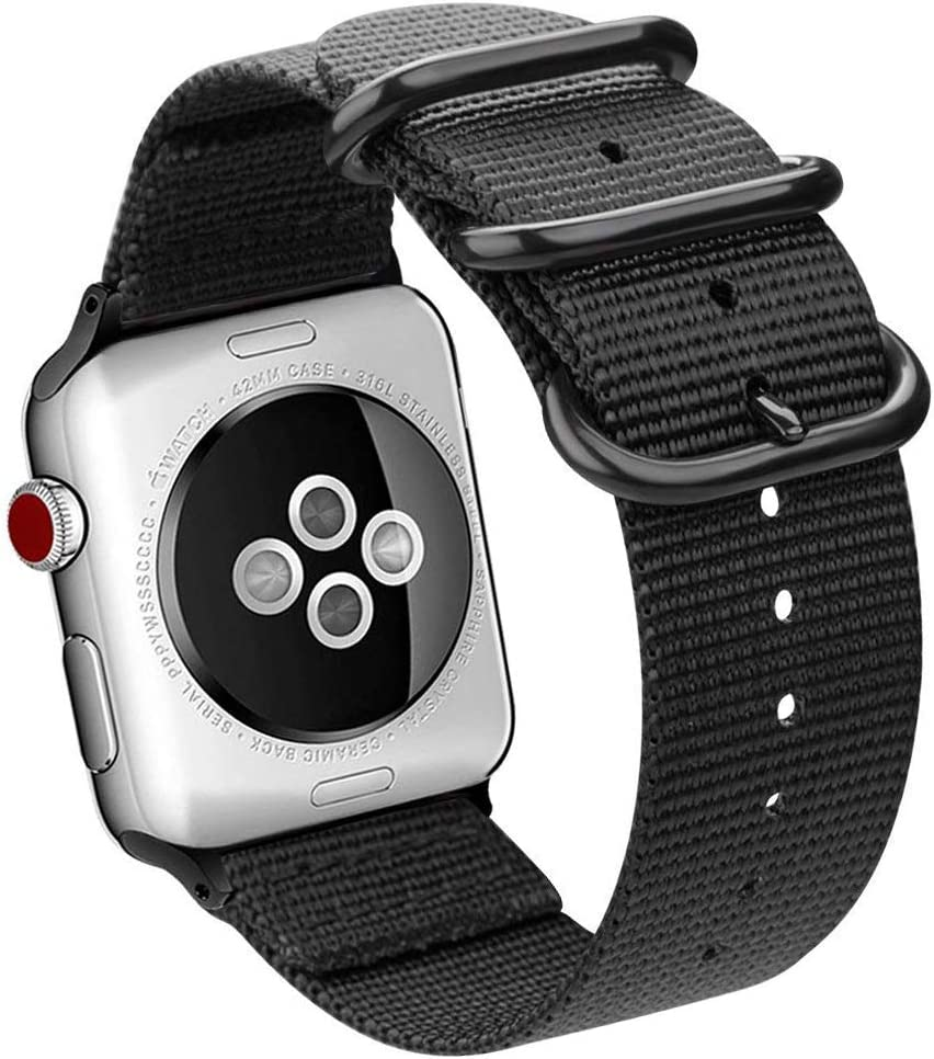 BIGTANG Compatible of Apple Watch 44mm/42mm Watch Band, Premium Lightweight Breathable Nylon Woven Watch Strap with Solid Metal Clasp Replacement Apple Watch Series 4/3/2/1 All Versions - Black