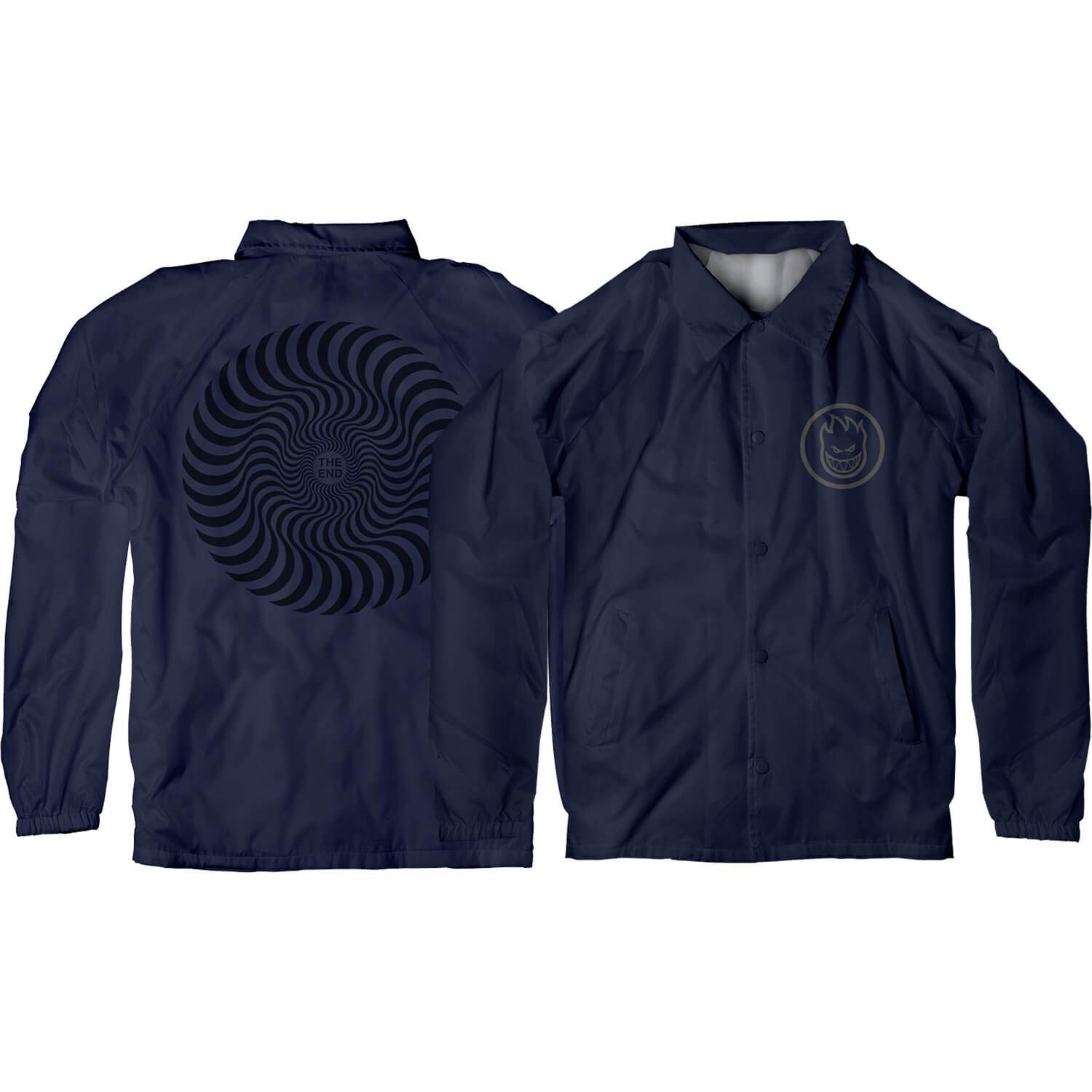 Small Grey Mens Jacket Spitfire Wheels Classic Swirl Navy