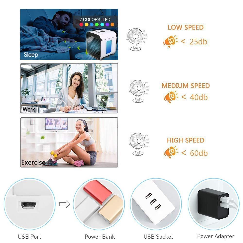 Luftbefeuchter und Luftreiniger mit 3 Geschwindigkeiten tragbarer 4-in-1-Mini-USB-Klimaanlagenl/üfter 7 LED-Nachtlicht f/ür Heimraumb/üro Desktop-Raumk/ühler Pers/önlicher Luftk/ühler