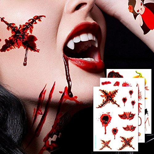 Geekper Halloween Makeup Party Bloody Scar Tattoo Window Decal Handprint Bloodstains Sticker Halloween CostumeMakeup  Party  Favor  10 Pack - Halloween Mouth Makeup