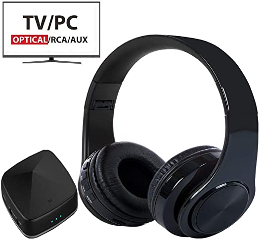 Wireless Headphones for TV Watching with Bluetooth Transmitter Receiver Optical Digital Audio, 3.5mm AUX, RCA No Delay, Foldable with USB Charging Port TV Headphones Wireless
