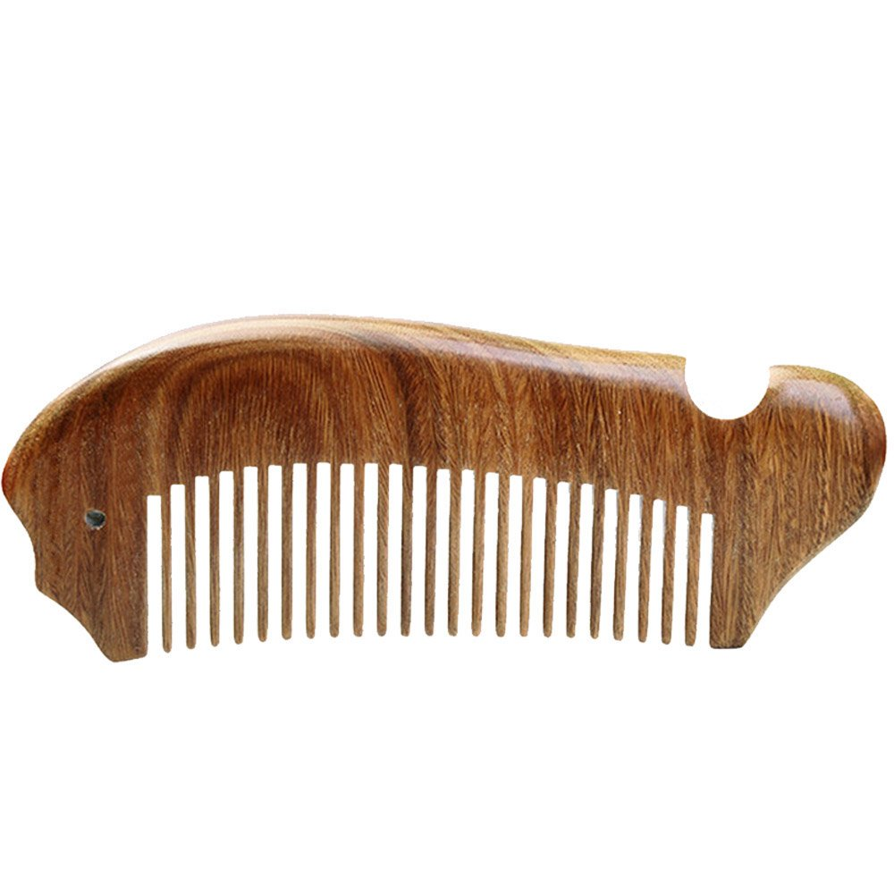 Elisona-Fish Style Green Sandalwood Wooden Wide Tooth Hair Comb Pocket Comb with Storage Bag