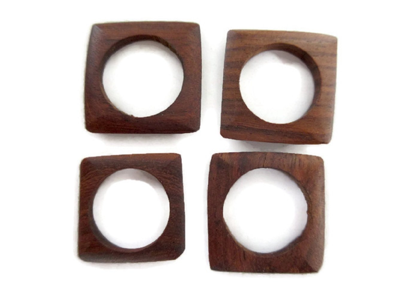 Hand Carved Natural Teak Wood Ring/Bead, Brown Wooden Square Ring, Wooden Jewelry Supplies, GDS1045/4 (50 Pieces)