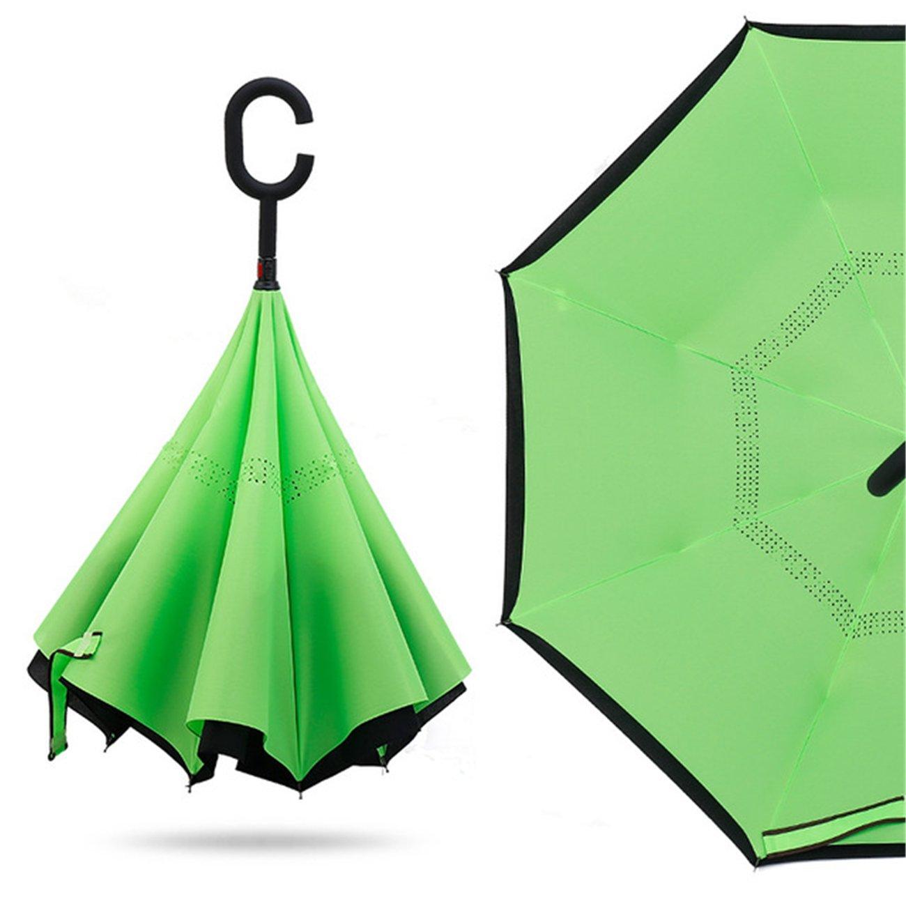 Yeying123 Paraguas Invertido Doble Plegado A Prueba De ...