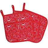 100% Cotton Kitchen Everyday Basic Terry Pot Holder With Pocket Heat Resistant Coaster Potholder For Cooking And Baking 8 x 8-Inch Set Of 3 Red