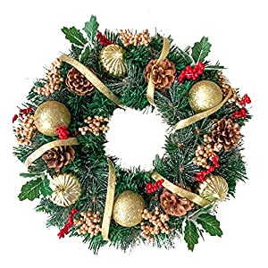 ALEKO Christmas Wreath (Gold with Berries, Wreath)