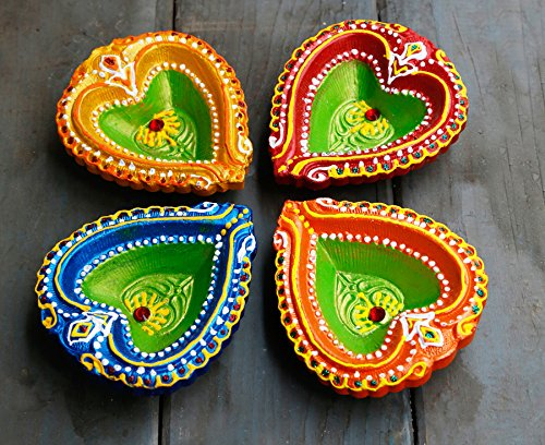 Store Indya Colorful Handmade Earthen Clay/Terracotta Decorative Diyas/Oil Lamps with Rhinestone/Jewel for Pooja/Diwali/Puja Set of (Store Decorations)