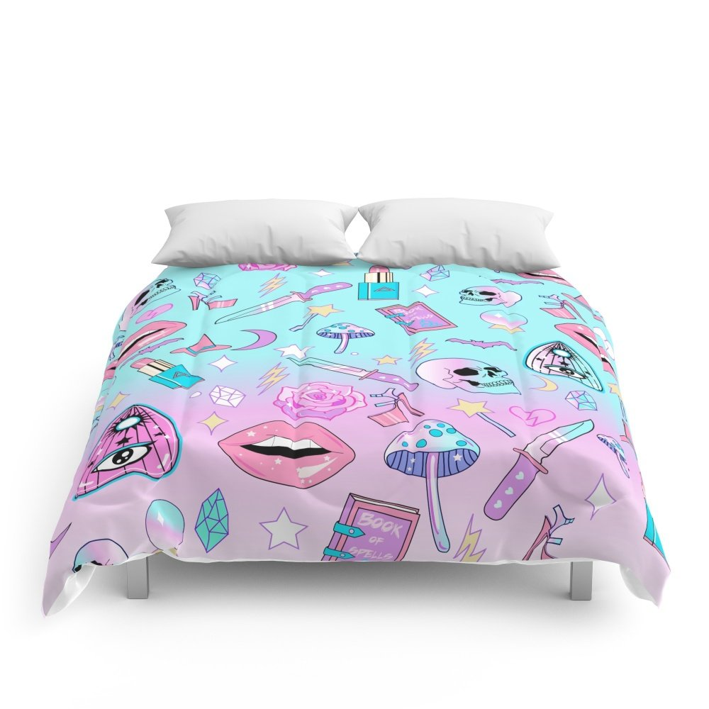 Society6 Girly Pastel Goth Witch Pattern Comforters Queen: 88'' x 88''