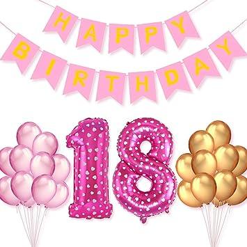 PushingBest 18th Birthday Decoration, Pink Birthday Party ...