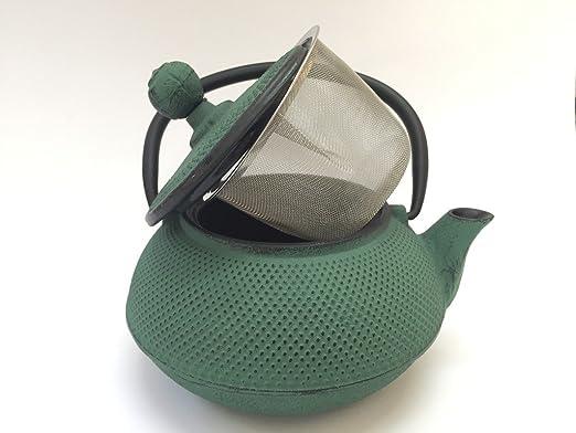 Tetera de hierro colado con filtro - capacidad 0.55 litros y color verde - teteras para vitroceramica, inducción y gas - tetera de metal mediana para ...