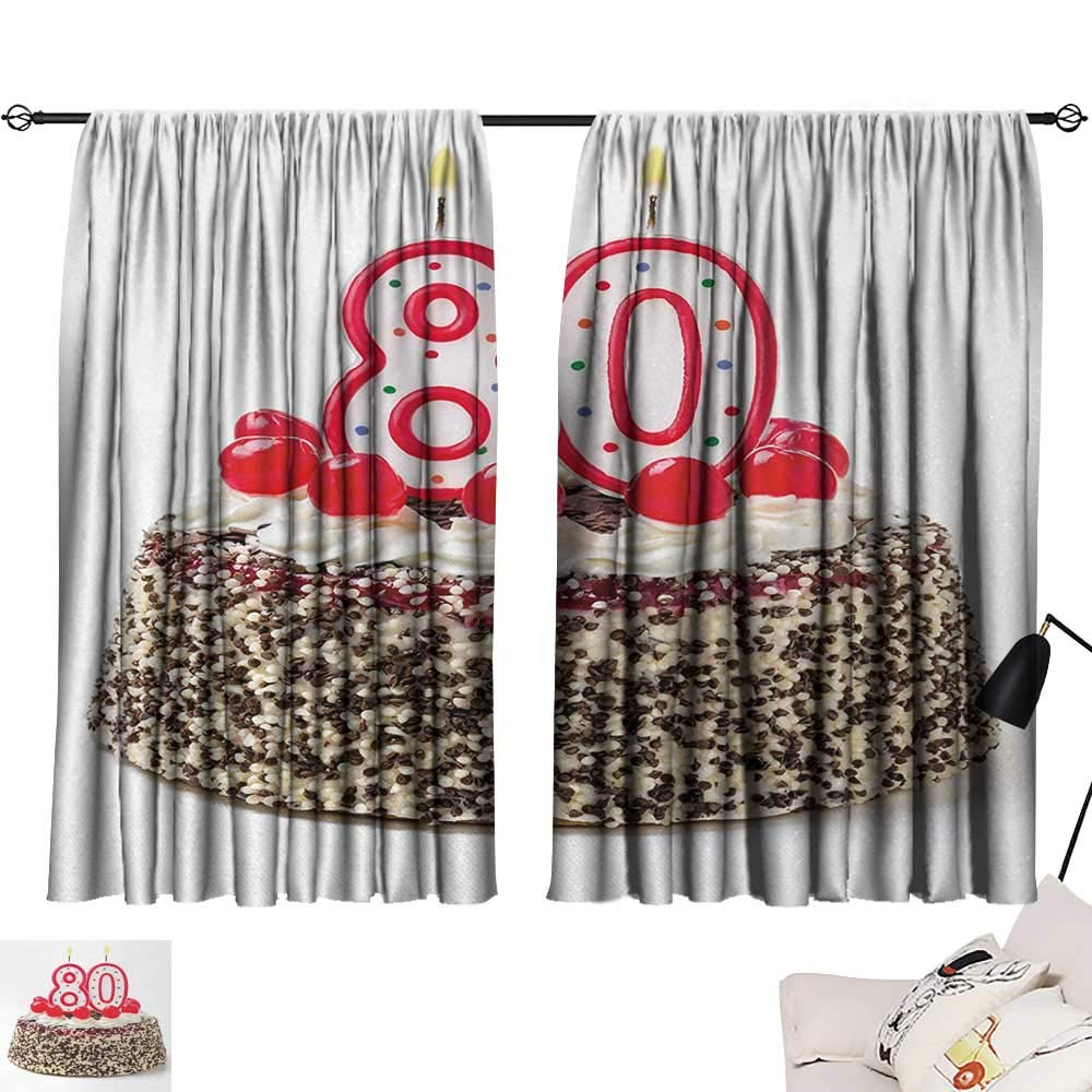 Jinguizi 80th Birthday Curtain Panels Birthday Party Cake with Sweet Tasty Cherries Sprinkles and Candles Image Style Darkening Curtains Multicolor W55 x L39 by Jinguizi (Image #1)