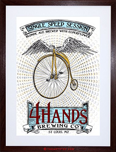 AD DRINK ALCOHOL BLONDE ALE PENNY FARTHING WINGS USA FRAMED PRINT F97X2196 Dark Ale Frame