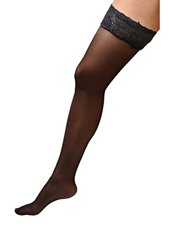 c0faffd8d Amazon.com  Womens Plus Size Hosiery Black Sheer Lace Top Stay Up Silicone Thigh  High Stockings  Clothing