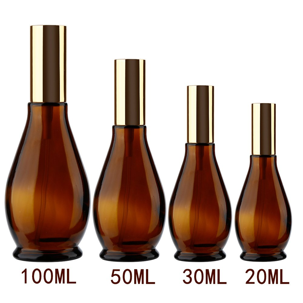 Gourd shaped Empty Amber Glass Atomizer Perfume Bottle Cosmetic Sprayer for Cosmetic Makeup, Ideal for Home and Travel Use(4 Sizes,1 PCS) Ruimin