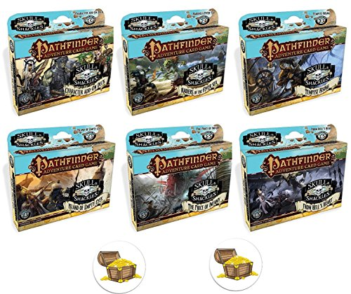 Bundle of All 6 Pathfinder Adventure Card Game Skull and Shackles Expansion Decks and 2 Treasure Chest Buttons by Mixed (Image #1)