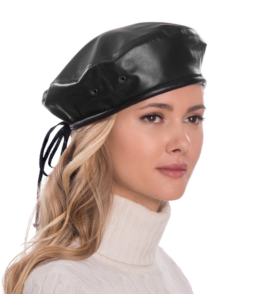 Eric Javits Luxury Fashion Designer Women's Headwear Hat- Leather Beret - Black by Eric Javits