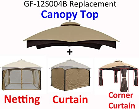 Amazon Com Apex Garden Replacement Canopy Top For Lowe S Allen Roth 10x12 Gazebo Gf 12s004b 1 And Mosquito Net Curtain Set Corner Curtain Bundle Garden Outdoor