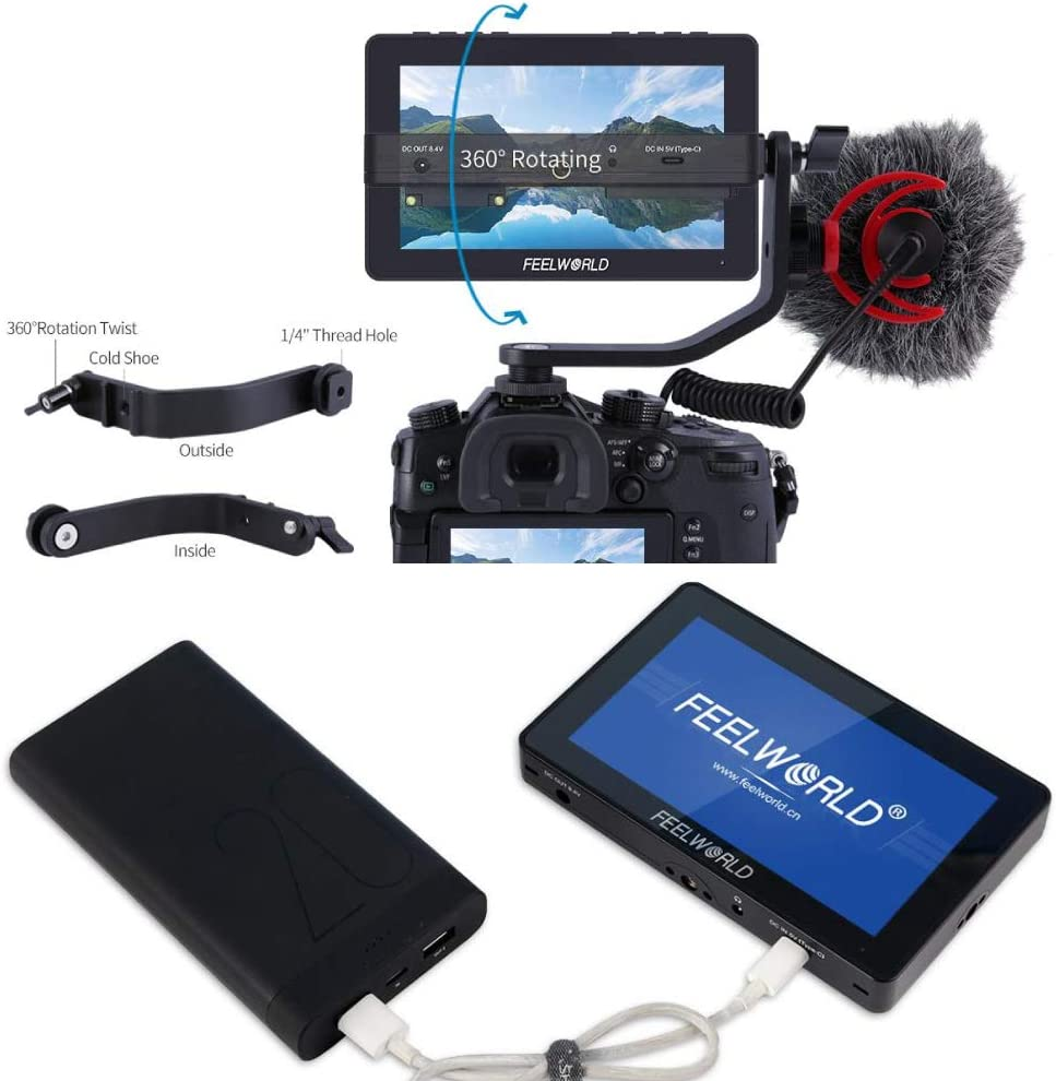 FEELWORLD F5 Pro Field Monitor 5.5 Inch on DSLR Camera Touch Screen IPS FHD1920x1080 4K HDMI Video Focus Assist for Gimbal Rig Package 1 included